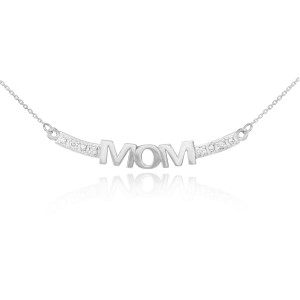 14k White Gold MOM Necklace with Diamonds