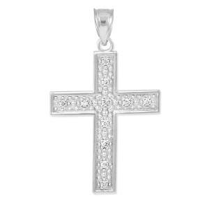 White Gold Diamond Cross Pendant