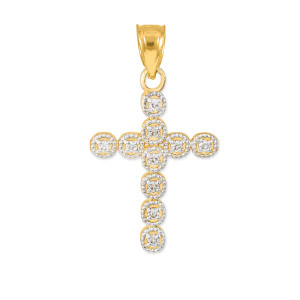 Gold Diamond Eternity Circle Small Cross Pendant