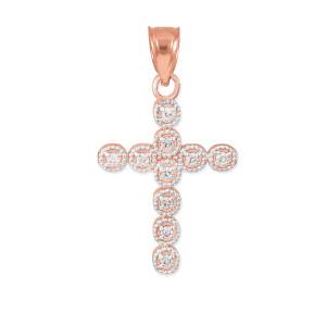 Rose Gold Diamond Eternity Circle Small Cross Pendant