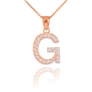 "Rose Gold Letter ""G"" Diamond Initial Pendant Necklace"