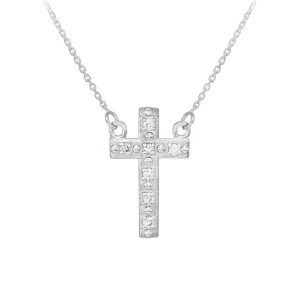 14k White Gold Small Cross Necklace with Diamonds
