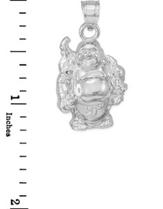 Sterling Silver Laughing Buddha Pendant Necklace