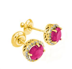 Gold Diamond Alexandrite Earrings