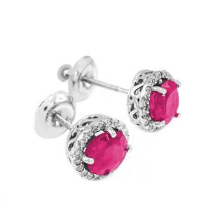 White Gold Diamond Alexandrite Earrings