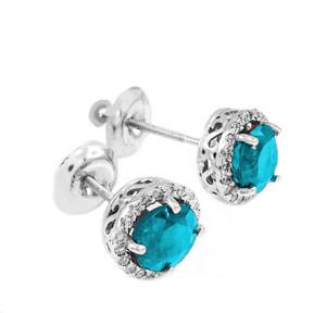 White Gold Diamond Aquamarine Earrings