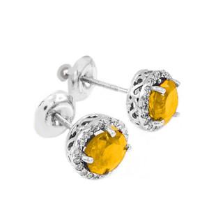 White Gold Diamond Citrine Earrings