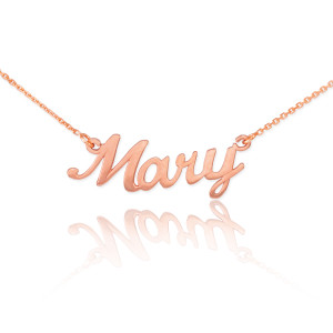 """14k Solid Rose Gold Name Script Necklace """"Mary"""""""