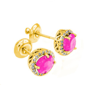 Gold Diamond Pink Zirconia Earrings