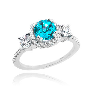 White Gold Aquamarine Diamond Engagement Ring