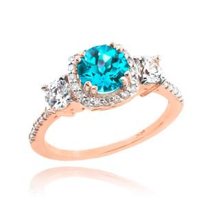 Rose Gold Aquamarine Diamond Engagement Ring