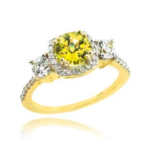 Gold Citrine Diamond Engagement Ring