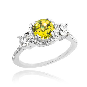 White Gold Citrine Diamond Engagement Ring