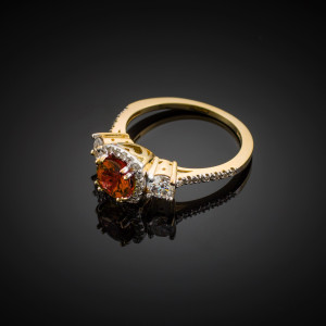 Gold Garnet Diamond Engagement Ring
