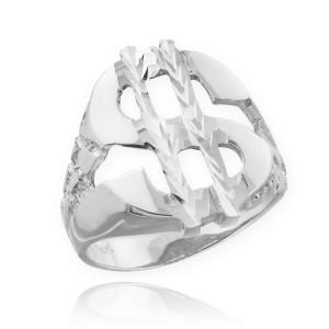 White Gold Dollar Sign Nugget Ring