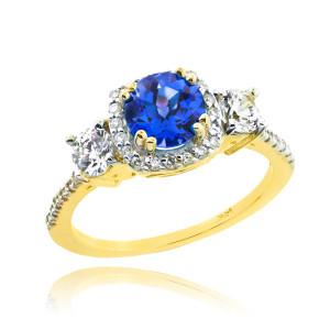 Gold Sapphire Diamond Engagement Ring