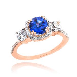 Rose Gold Sapphire Diamond Engagement Ring