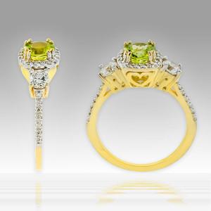 Gold Peridot Diamond Engagement Ring
