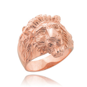 Men's Solid Rose Gold Lion Head Ring