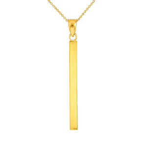 Solid Gold Vertical Bar Pendant Necklace