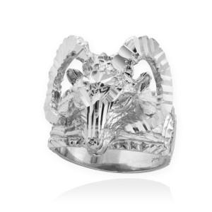 White Gold Mountain Ram Aries Ring