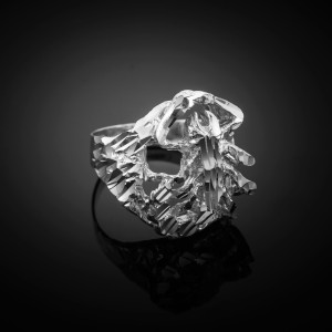 Sterling Silver Scorpion Diamond Cut Ring