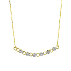 14k Gold Curved Diamond Hearts Necklace