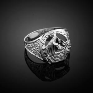 White Gold Horse Head with Horseshoe Ring