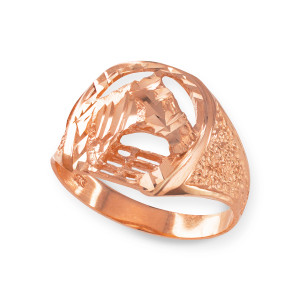 Rose Gold Horse Head with Horseshoe Ring