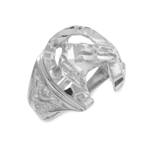 Sterling Silver Horse Head with Horseshoe Diamond Cut Ring