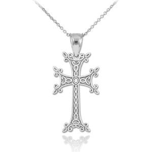 Sterling Silver Armenian Cross Pendant Necklace