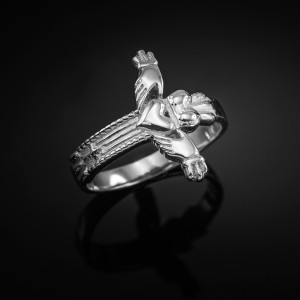 White Gold Classic Claddagh Cross Ring