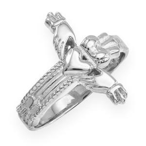 Silver Claddagh cross ring