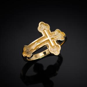 Gold Eastern Orthodox Cross Ring