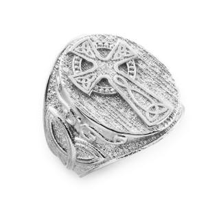 Men's White Gold Celtic Cross Trinity Knot Ring