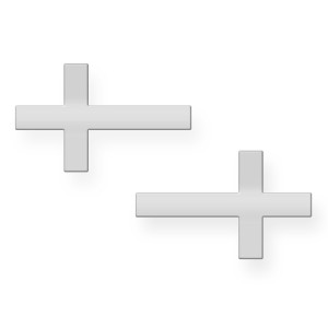 White Gold Sideways Cross Post Earrings