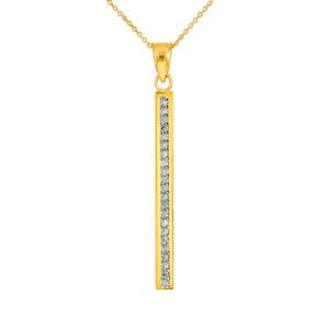 14k Gold Vertical Diamond Bar Necklace