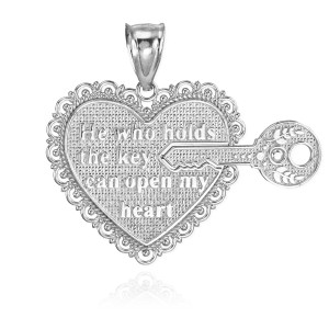 """2pc Sterling Silver """"Key Of My Heart"""" Detachable Pendant"""