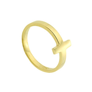 Gold Sideways Cross Baby Ring