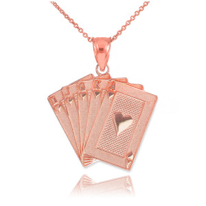 Rose Gold Royal Flush Poker Pendant Necklace