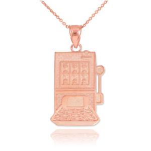Rose Gold Casino Slot Machine Pendant Necklace