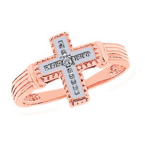 Rose Gold Rhodium Diamond Cross Ring