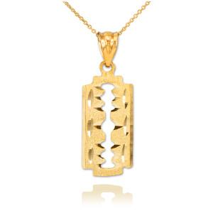 Gold Razor Blade Pendant Necklace