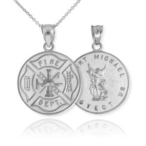 White Gold Firefighter Badge Reversible St. Michael Pendant Necklace