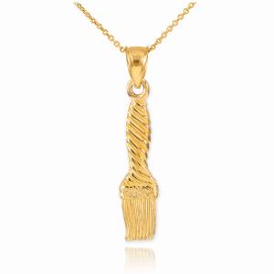 Gold Paintbrush Pendant Necklace