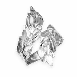 White Gold Diamond Cut Laurel Wreath Leaf Ring