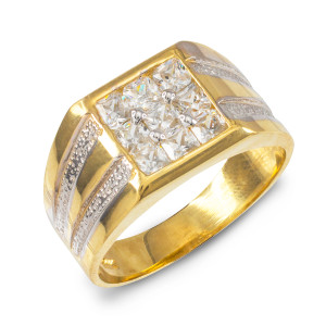 Men's Gold Square Top CZ Ring