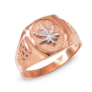 Men's Rose Gold Marijuana Leaf Cannabis Ring