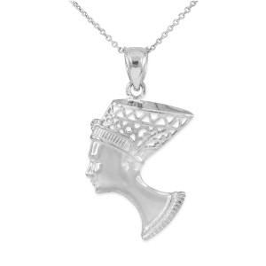 White Gold Queen Nefertiti Filigree Pendant Necklace
