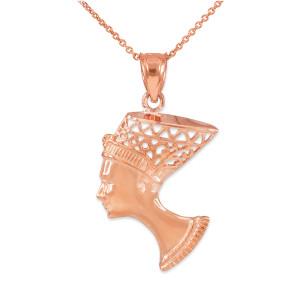 Rose Gold Queen Nefertiti Filigree Pendant Necklace